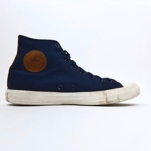 All Star Converse Navy Knitted Leather High Tops
